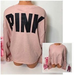 NEW PINK VS SNAP SLEEVE CROP LOGO SWEATSHIRT